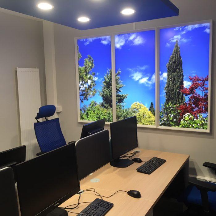 Installation de fenêtres virtuelles cumulux pour un bureau de l'hôpital de Villefranche