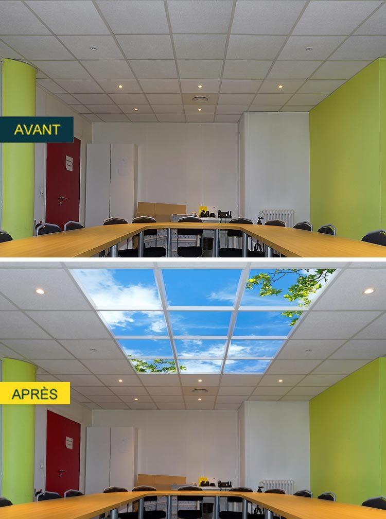plafond lumineux cumulux de 12 modules pour une salle de réunion avant/après