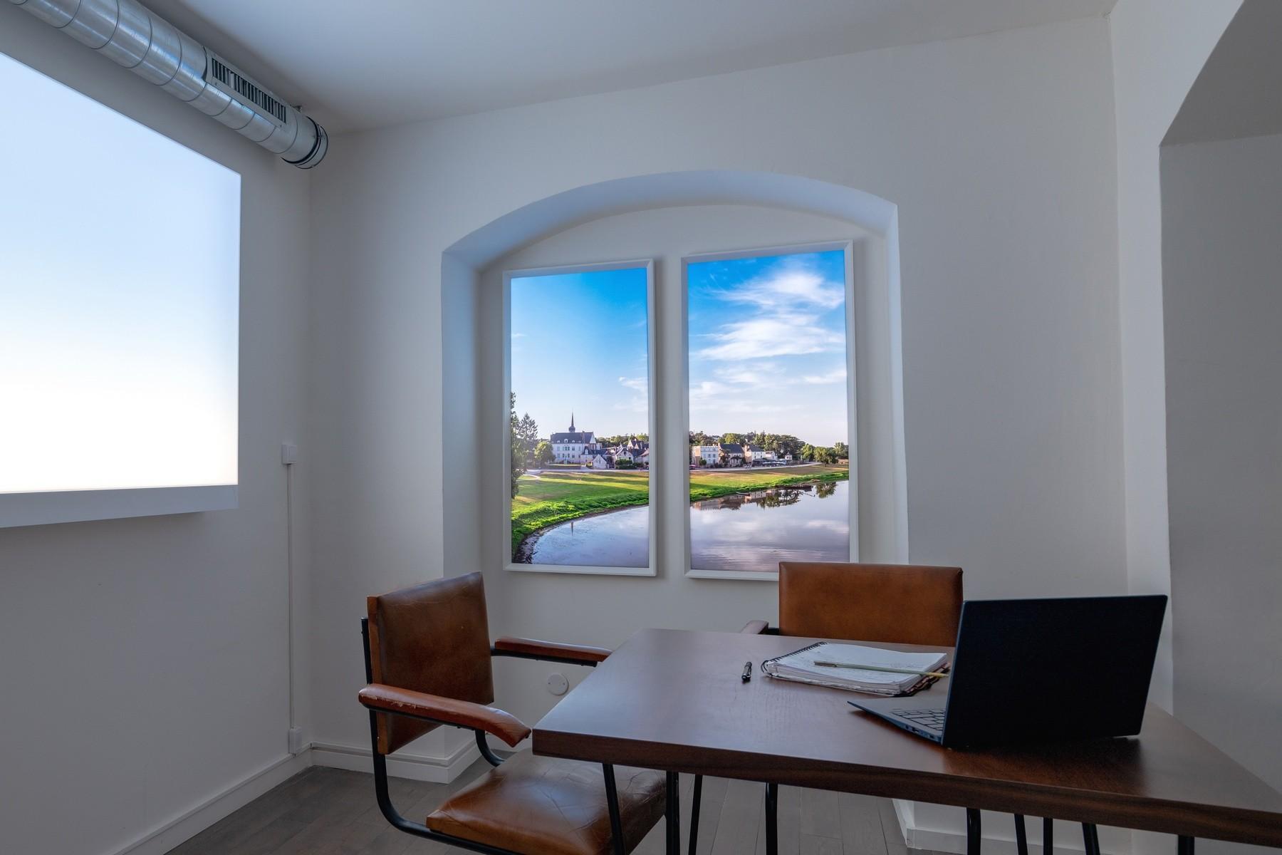Fenêtres lumineuse évolution verticales pour une salle de réunion en sous-sol.