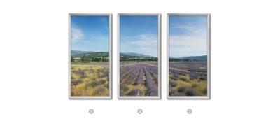 3 photographies panoramiques et verticales d'un paysage de Provence lumineux