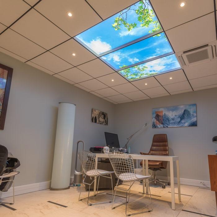 3 modules de 60x120 cm faux plafond lumineux ciel rétroéclairé