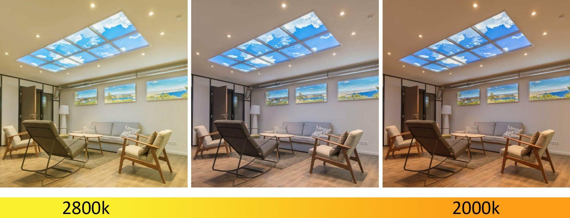 éclairage de bien être puits de lumière LED fenêtres virtuelles downlight Dim to Warm