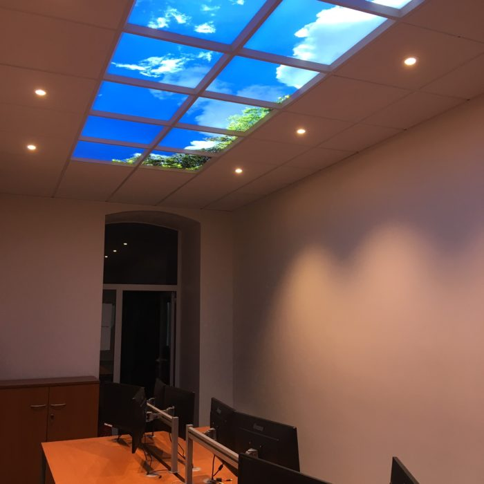 plafond lumineux cumulux 60x120 cm verrière artificielle puits de lumière pour open space