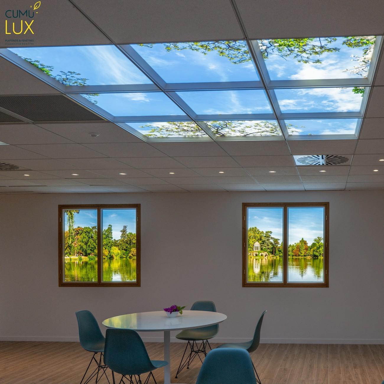 Faux plafonds et fenêtres lumineuses led pour un réfectoire en sous-sol