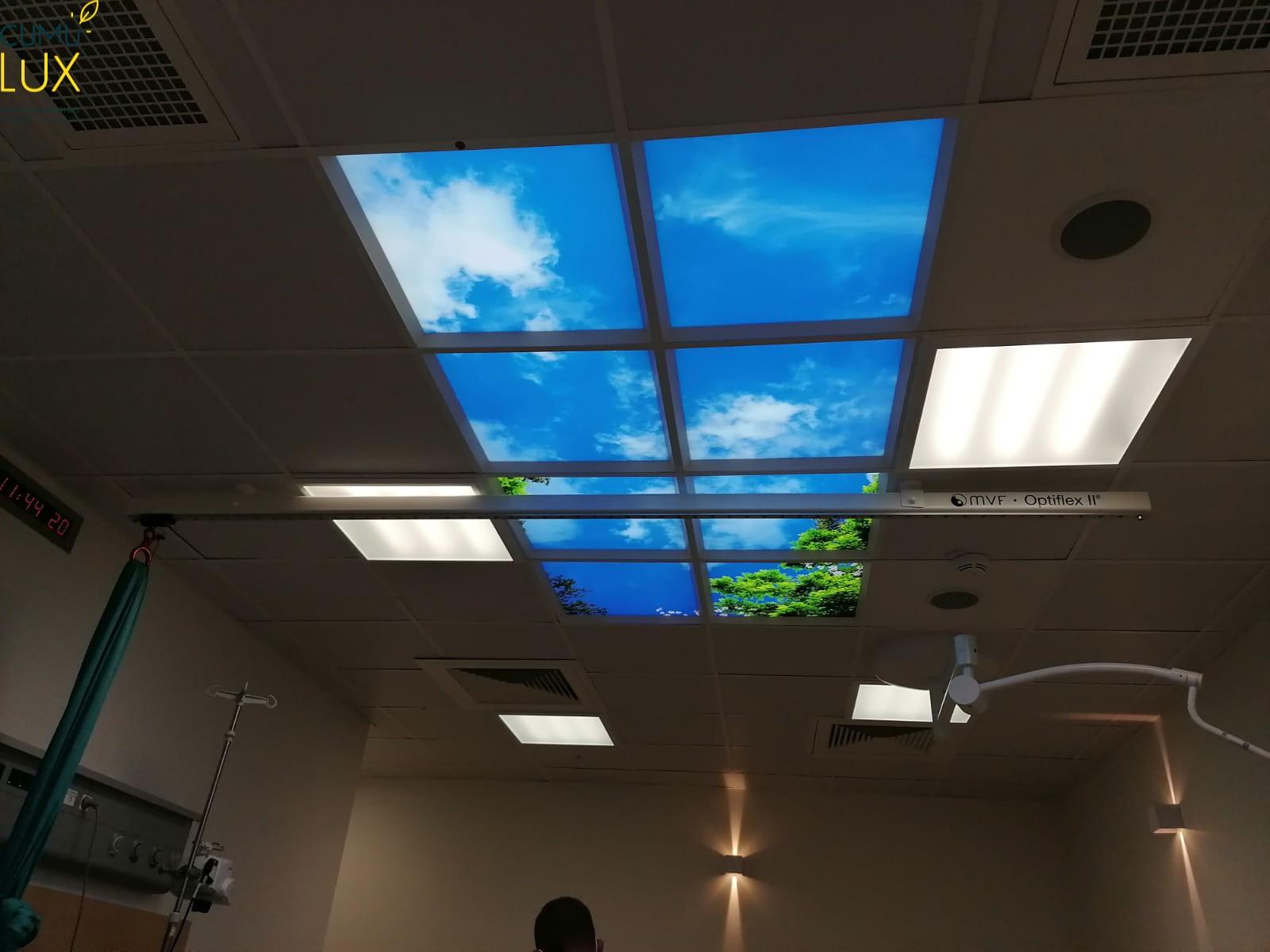Faux plafond Cumulux pour une salle d'accouchement aveugle au CHU de Bastia.