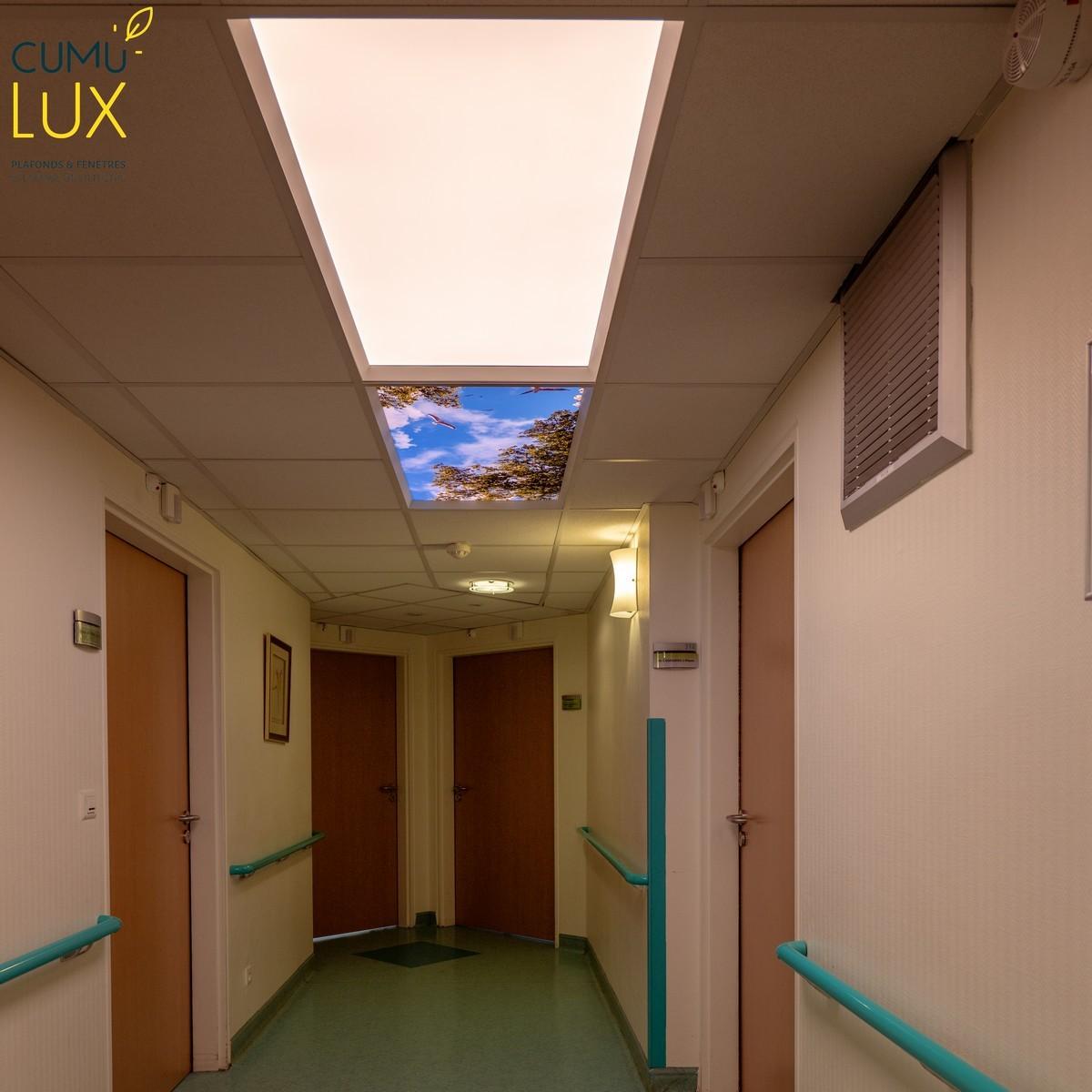 Dalles lumineuses LED classique et biodynamique pour créer une illusion d'ouverture sur le ciel en temps réel.